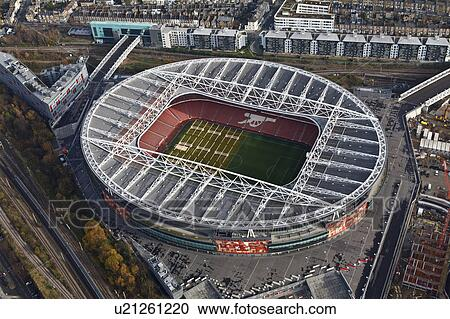 Stock photography of england london arsenal aerial view for Emirates stadium mural