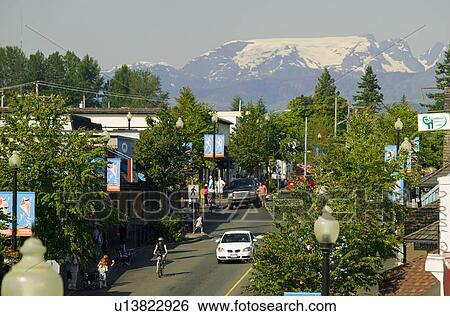 Stock Images of The Comox Glacier overlooks the main street of ...