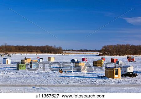 Picture of ice fishing shacks on the red river just north for Lake winnipeg ice fishing