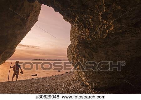 石灰石, 悬崖, 陡峭, 石头, 向前, 湖, manitoba, manitoba, 加