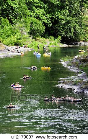 picture of tubers going down cowichan river near skutz