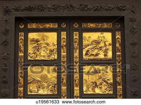 Stock Photo - Gates of Paradise East doors by Lorenzo Ghiberti Florence Baptistery or & Stock Photo of Gates of Paradise East doors by Lorenzo Ghiberti ... Pezcame.Com