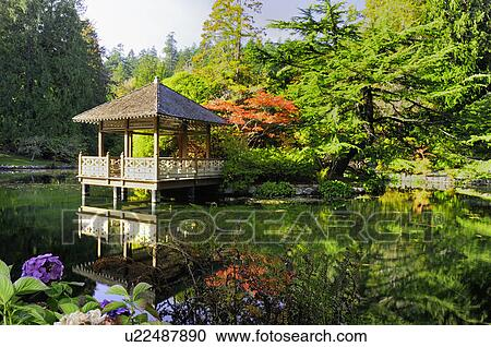A Gazebo On A Pond In A Japanese Garden At Hatley Castle At Royal Roads  University In Victoria, British Columbia, Canada. Part 98