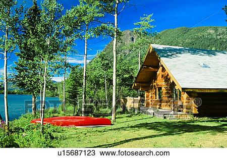 Stock Photo Of Cabin And Red Canoe Chilko Lake British Columbia