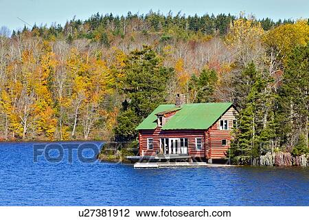 Stock Photo Of Log House Lochaber Lake Antigonish County Nova