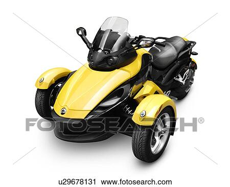 stock photography of 2009 brp can am spyder roadster three wheeled vehicle isolated on white. Black Bedroom Furniture Sets. Home Design Ideas