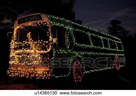 Christmas Lights On Stone Wall : Stock Photography of bus, Georgia, GA, Atlanta, Colorful Christmas lights decorate a large bus ...