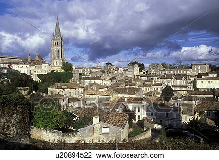 stock photo of saint emilion aquitaine bordeaux wine region france gironde europe eglise. Black Bedroom Furniture Sets. Home Design Ideas