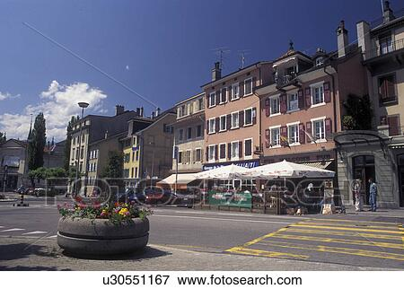 Picture of Switzerland Vevey Vaud Buildings along the street in