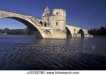 stock photography of france avignon provence vaucluse europe 12th century pont st benezet. Black Bedroom Furniture Sets. Home Design Ideas