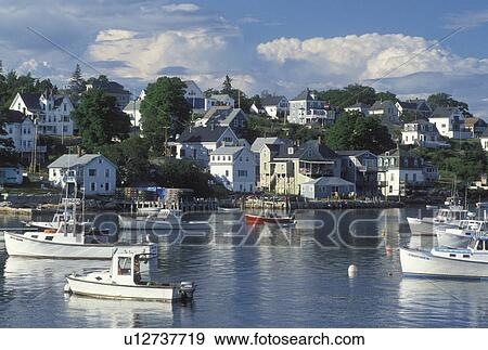 Stock photograph of lobster boats stonington me maine for Ocean isles fishing village