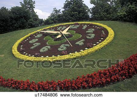 Stock afbeeldingen floral klok gen ve zwitserland for Jardin anglais geneve programme