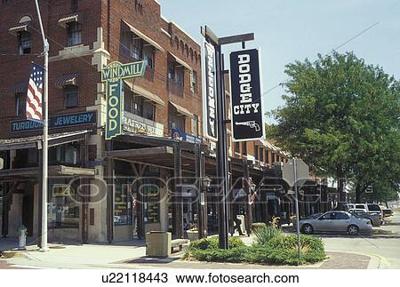 Stock photo of kansas ks dodge city stores along front for Craft stores in kansas city