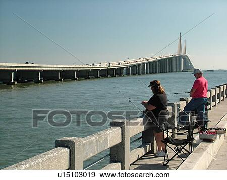 Stock photograph of st petersburg fl florida tampa bay for Tampa fishing piers