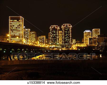 Stock Photo of Richmond, VA, Virginia, James River, downtown ...