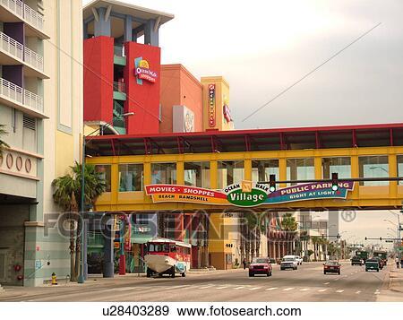 Stock Photograph of Daytona Beach, FL, Florida, Ocean Walk Village ...