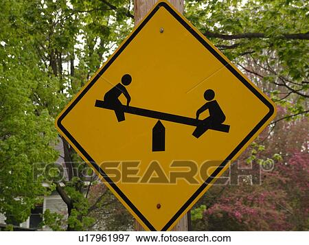 Picture of road sign, Playground Ahead sign, children at ...