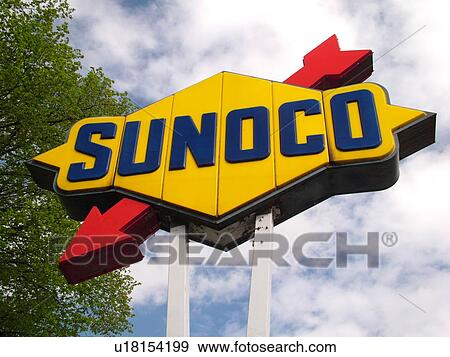 stock photograph sunoco gas station sign logo fotosearch search stock