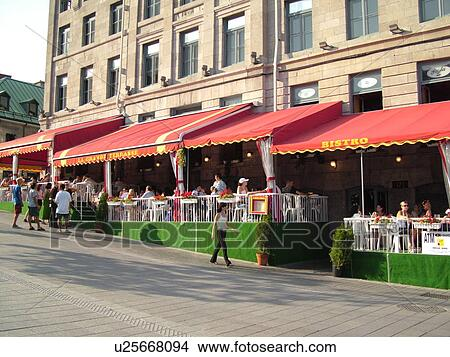 Stock photo of montreal canada qc quebec old port old montreal place jacques cartier - Restaurants old port montreal ...