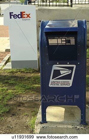 stock photograph of mailbox postal drop box united states postal service fedex drop box. Black Bedroom Furniture Sets. Home Design Ideas