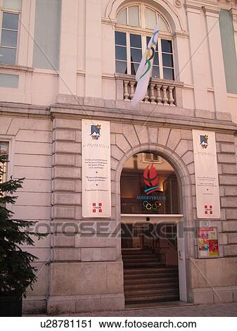 stock photography of albertville savoie rhone alpes europe downtown olympic museum