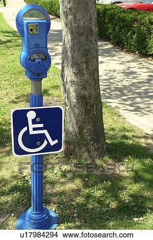 Stock Photo of Toledo, OH, Ohio, Blue Handicap Parking Meter ...