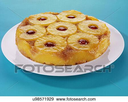 Stock Photograph of Whole Pineapple Upside Down Cake With ...