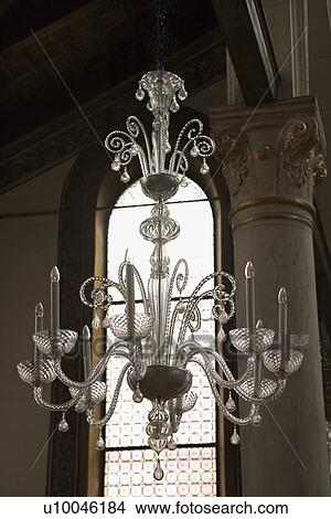 Stock photo of decorative ornate crystal chandelier hanging from stock photo decorative ornate crystal chandelier hanging from ceiling fotosearch search stock aloadofball Choice Image