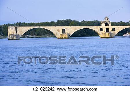 stock photo of st benezet 39 s bridge over rhone river avignon provence alpes cote d 39 azur. Black Bedroom Furniture Sets. Home Design Ideas