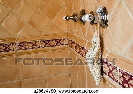 Stock Photography Of Detail Of Spanish Style Tile Shower