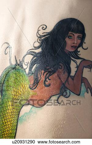 Stock photography of close up of caucasian woman 39 s back for Back mural tattoos