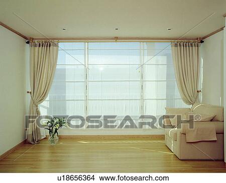 Banco de Imagem - sofás, janela, sofá, cortinas, janelas, chão ...
