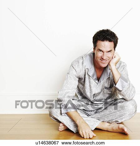 Man Sitting Cross Legged Side View Picture of Portrait of...