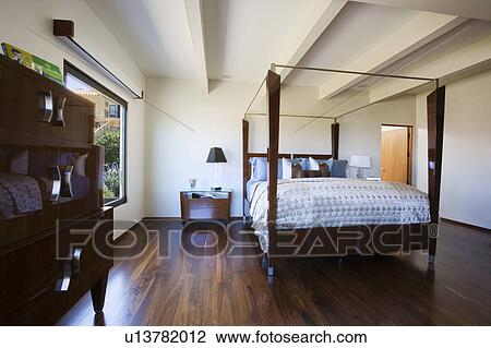 Stockfoto   minimalist, moderne, soveværelse, hos, fire, poster ...