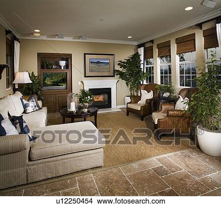 Archivio Fotografico - soggiorno, con, caminetto, e ...