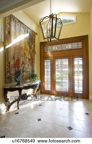 Stock Photograph Of Contemporary Foyer With Glass Front