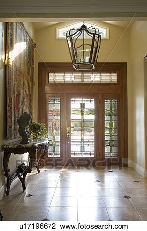 Stock Photo Of Contemporary Foyer With Glass Front Door