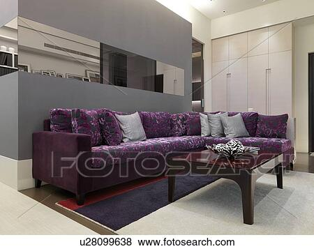 Picture   Purple Sectional Sofa In Modern Living Room. Fotosearch   Search  Stock Photos,