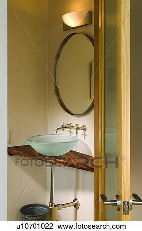 Archivio Fotografico - moderno, bagno, ciotola, lavandino ...