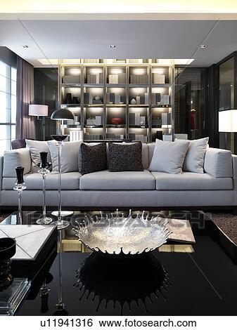 Banco de imagens   sala de estar, com, mobília moderna, e, parede ...