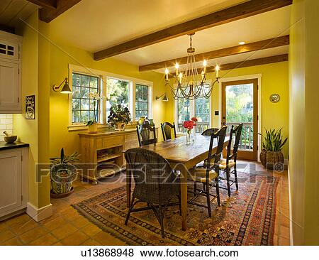 Images jaune salle manger bois plafond rayons for Salle a manger jaune moutarde