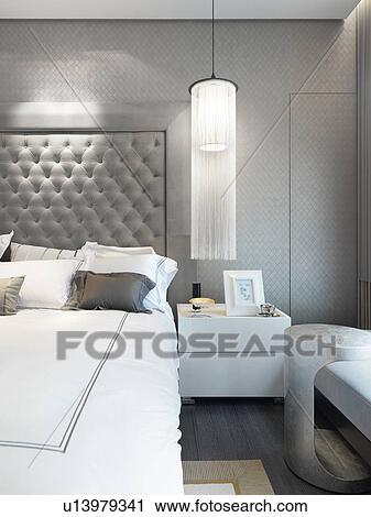 Arkivfotografi   hengende lampe, nest etter, seng u13979341   søk ...