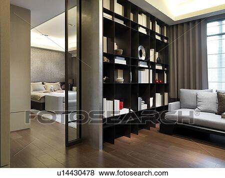 Immagini   seduta, zona, con, libreria, esterno, camera letto ...