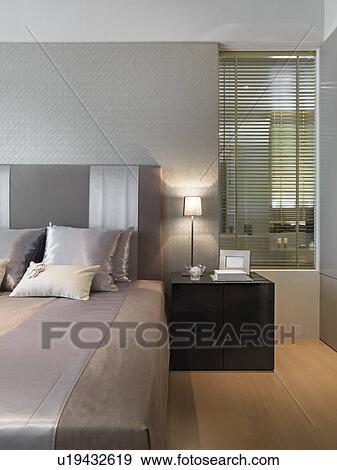 Stockfotografi   seng, ind, moderne, soveværelse u19432619   søg i ...