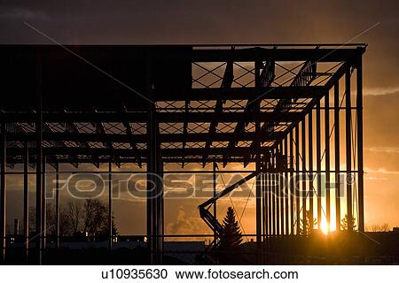 Stock photography of construction site silhouette for Construction site wall mural