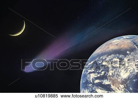 图片银行 - 空间, 特殊的结果, 合成物, 带, 地球, 彗星, 同时,, 月牙图片