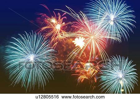 Stock Images of Fireworks exploding in sky, low angle view ...