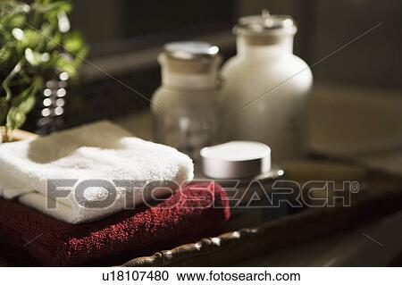 Stock photography of display of toiletries and towels on for Bathroom tray for toiletries