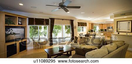 Stock bild ansicht von wohnzimmer esszimmer und for Wandbilder esszimmer