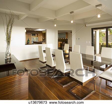 Stock Photo   Modern White Dining Room With Hardwood Floors. Fotosearch    Search Stock Images